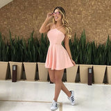 Cute A-Line Halter Open Back Pink Satin Short homecoming Dresses,Cocktail Party Dresses,Homecoming Dresses  cg1085