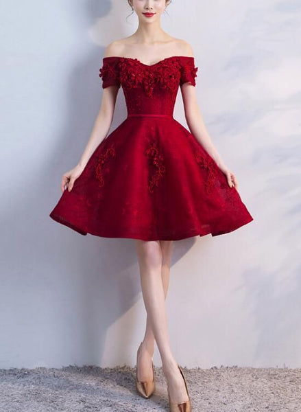 Adorable Wine Red Short Beaded Homecoming Dress, Short homecoming Dress, Graduation Party Dress cg1087