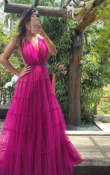 Tulle Prom Dress,A-Line Prom Gown,Spaghetti Straps Evening Dress,Custom Prom Gown   cg10888