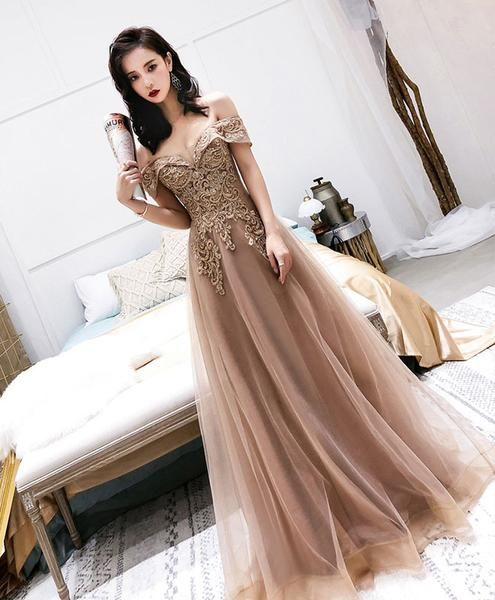 Champagne tulle off shoulder long prom dress, tulle evening dress  cg1088