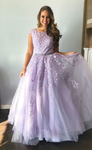 Formal Long Prom Dresses, ball gown graduation party dresses, lilac lace prom dresses for teens   cg10901