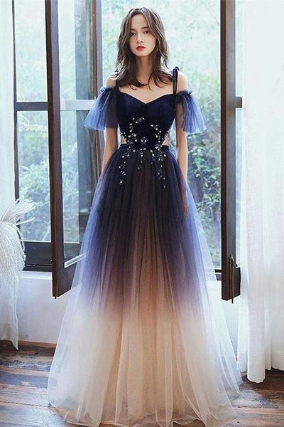 Pretty Spaghetti Straps Long Charming Princess Prom Dresses For Girls   cg10906