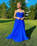 Royal Blue Appliques Long Prom Dress, Sleeveless Evening Dress   cg10910