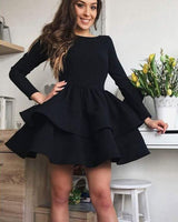 simple black satin layered homecoming dress with long sleeves cg1091