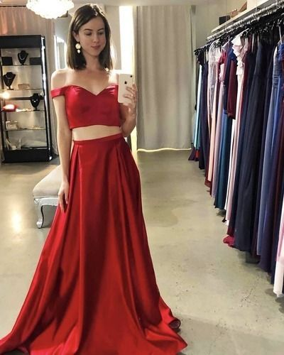 Sexy Off the Shoulder Red Two Piece Prom Dress, Long Evening Dress    cg10921