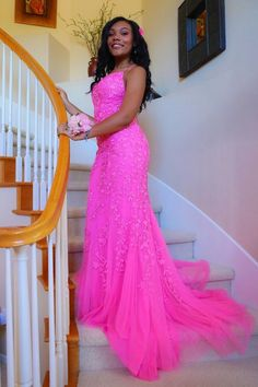 black girls hot pink mermaid lace appliques long prom dress formal dress   cg10927