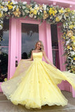 Straps Tulle Bodice 3D Flowers With Back Lace Up Yellow Long Prom Dress   cg10929