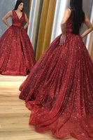 glitter red long formal dress with v neckline prom gown   cg10932