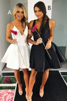 V Neck White/Black Short Party Dress Short Homecoming Dresses   cg10938
