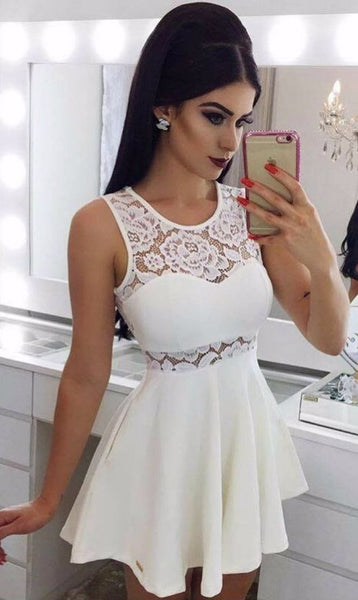 A-Line Crew Short White Homecoming Dress with Lace Pockets cg1093