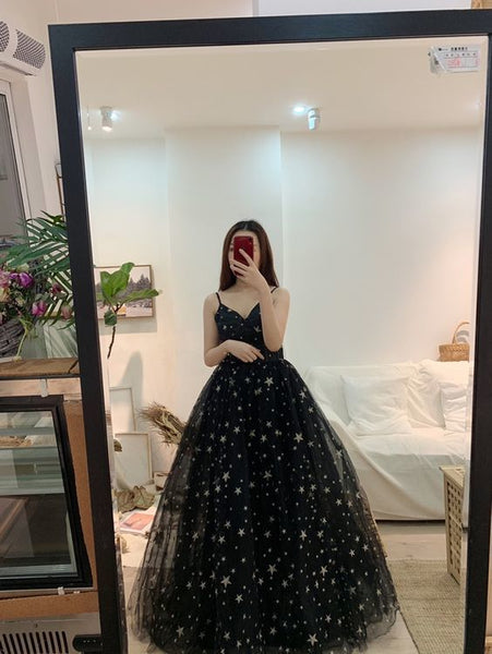 Sexy Black Prom Dresses A-Line / Princess Spaghetti Straps Sleeveless Star Embroidered Floor-Length    cg10940