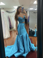Blue satin prom dress two pieces evening dress   cg10941