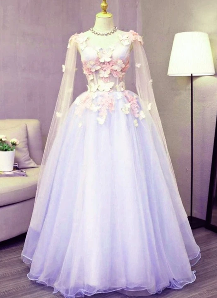 Lovely Tulle Lavender Long Formal prom Dress With Lace Applique, Sweet 16 Dresses   cg10945