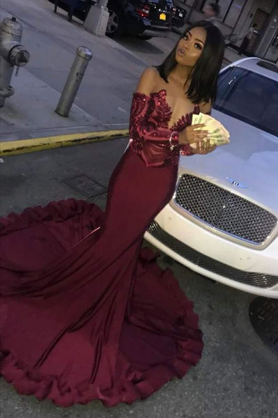 Sexy Burgundy Sequins Mermaid Prom Dresses | Cheap Long Sleeves Evening Dresses    cg10947
