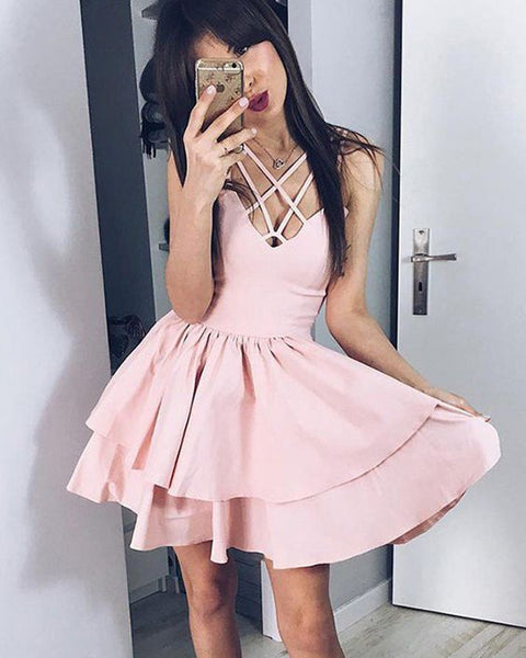 simple pearl pink pleated crisscross layered homecoming dress cg1095