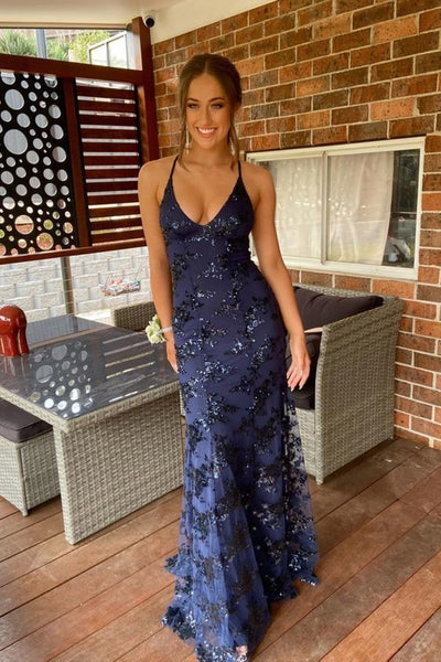 navy blue mermaid tulle and sequins long formal prom dress with v neckline and lace up back   cg10962