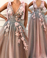 Embroidered Flowers Embellished And Beaded Nude Pink Long Evening Special Occasion Gown Prom Dress   cg10969