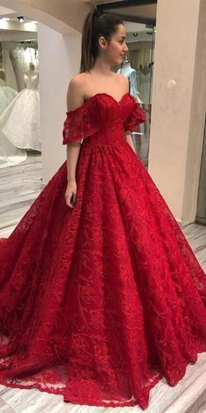 Off Shoulder Long A-line Red Lace Prom Dresses, Formal Dresses    cg10981