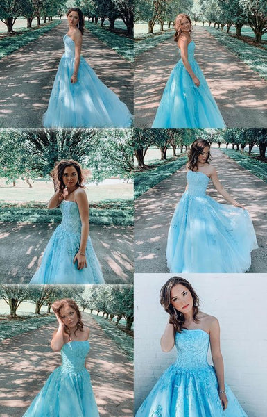 strapless blue long prom gown   cg10991