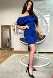 Off-the-Shoulder Above-Knee Royal Blue Homecoming Dress,Sexy Cocktail Dress cg1099