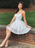 White lace short homecoming dress, homecoming dress cg109