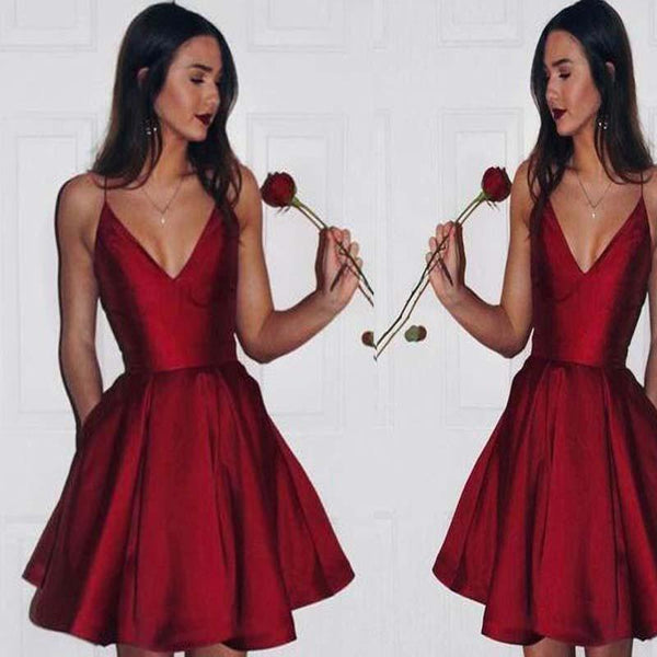 Hot Sale Red Spaghetti Straps V-Neck A-Line Satin Homecoming Dresses, Cheap Homecoming Dresses cg10