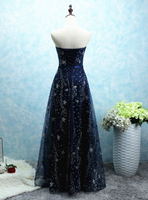 A Line Long Tulle Strapless Prom Dress With Star Sequins   cg11000