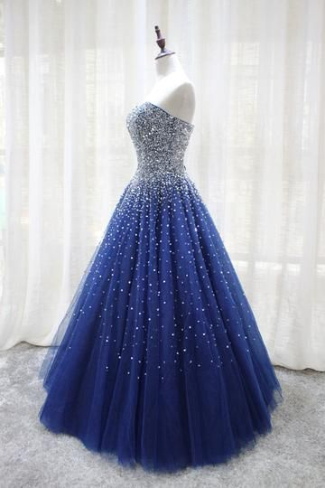 Gorgeous Sparkle Blue Sweet 16 Dress, Handmade Beaded Formal Gown    cg11002