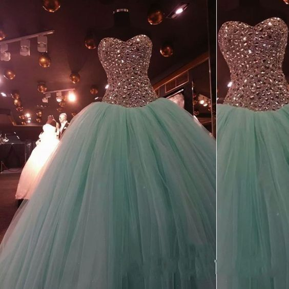 Princess Mint Green Tulle Strapless Long Prom Dress    cg11004