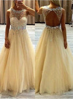 Champagne Tulle Princess/A-Line Backless Beaded Prom Dresses    cg11013