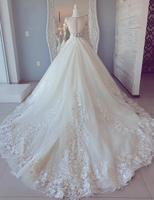 White lace long sleeve ball gown prom dress wedding dress   cg11015