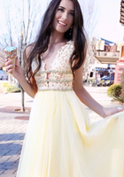 YELLOW V NECK TULLE LACE LONG PROM DRESS YELLOW FORMAL DRESS    cg11018