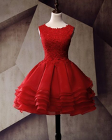 Lace Homecoming Dress, Applique Junior School Dress, Red Graduation Dress cg1101