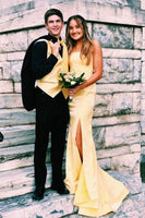 Mermaid Strapless Yellow Long Prom Dress With Split   cg11029