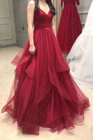 Pleated V-neckline Tulle Prom Dress with Horsehair Layered Skirt    cg11032
