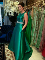 Green Long Prom Dress With Belt Beading   cg11033