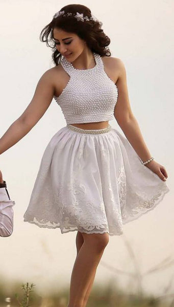 White Beaded Halter Two Piece Lace Homecoming Dress,Sexy Cocktail Dress,Cheap homecoming Dress,Formal Dress cg1103
