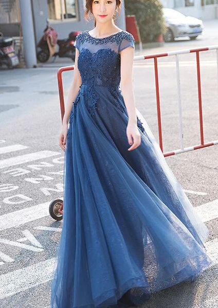 Blue Lace Cap Sleeves Long Evening Dress, A-Line Backless Prom Dress   cg11046