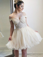 Off-the-Shoulder Light Champagne Homecoming Dress with Appliques Beading cg1105