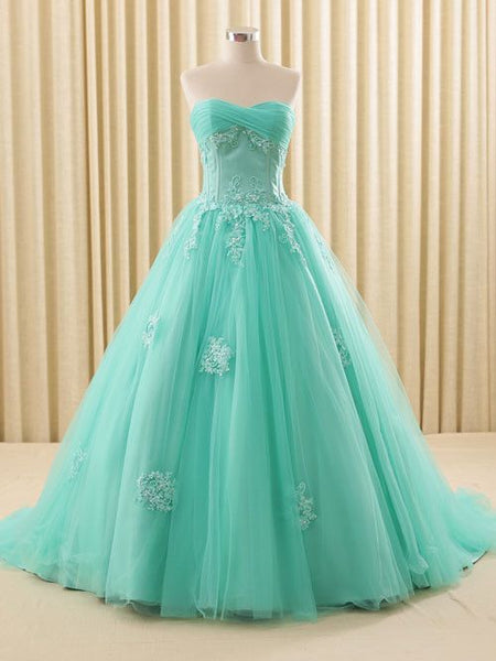 Turquoise Lace Ball Gown Dress prom Dress,princess Ball Gown Dress   cg11064