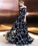 long prom dress, lace evening dress   cg11068