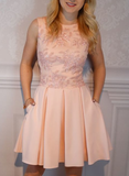 A-Line Short Pink Satin Homecoming Dress with Applique cg1106