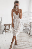WHITE LACE SHORT PROM DRESS LACE FORMAL DRESS   cg11079