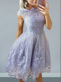 A-Line Bateau Cap Sleeves Lilac Homecoming Dress with Appliques cg1107