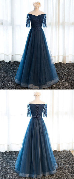 Navy blue lace long prom dress, lace evening dress   cg11088