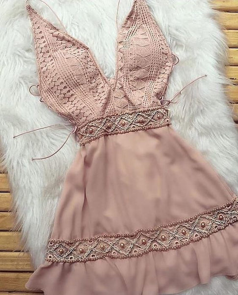 Pink Short Homecoming Dress   cg11089