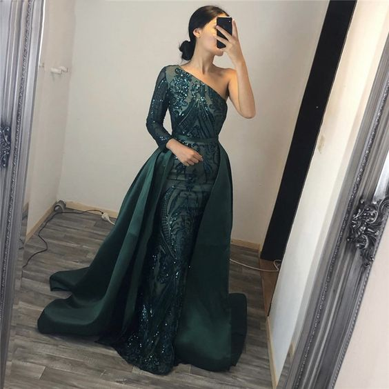 One shoulder long sleeves Sequined Evening Dresses prom dress, evening dress   cg11095