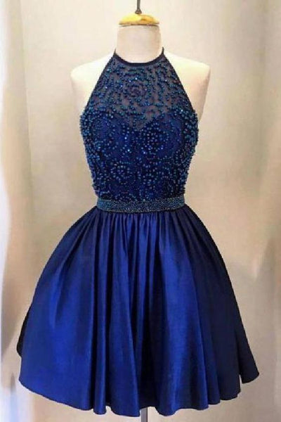 Luxurious Homecoming Dress Backless Royal Blue Beaded Halter Homecoming Dresses CG110