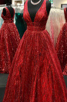 Sparkle A-line Red Long Prom Dress Party Dress   cg11101