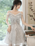 Gray tulle sequins short dress party dress homecoming dresses  cg11108
